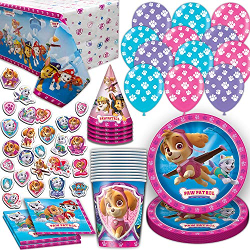 Paw Patrol Girls Party Supplies for 16. Includes Plates, Cups, Napkins, Tablecloth, Stickers, Balloons, Birthday Hat. Pink and Purple Theme Dinnerware Decoration and Favors ()