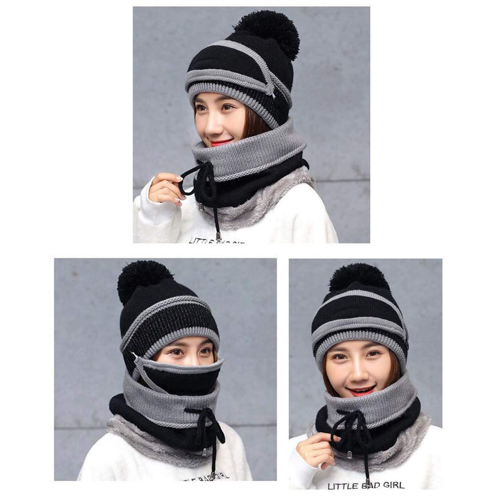 OTTER 2-in-1 Winter Hat Scarf Set Beanie,Warm Knitted Hat with Fleece Liner, Outdoor Sports Skull Cap for Men & Women