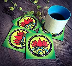 Bar Coaster Tea Coffee Mug Tabletop Barware Drink Set of 4 Graphic Lotus Design Dining Accessories Home Decor