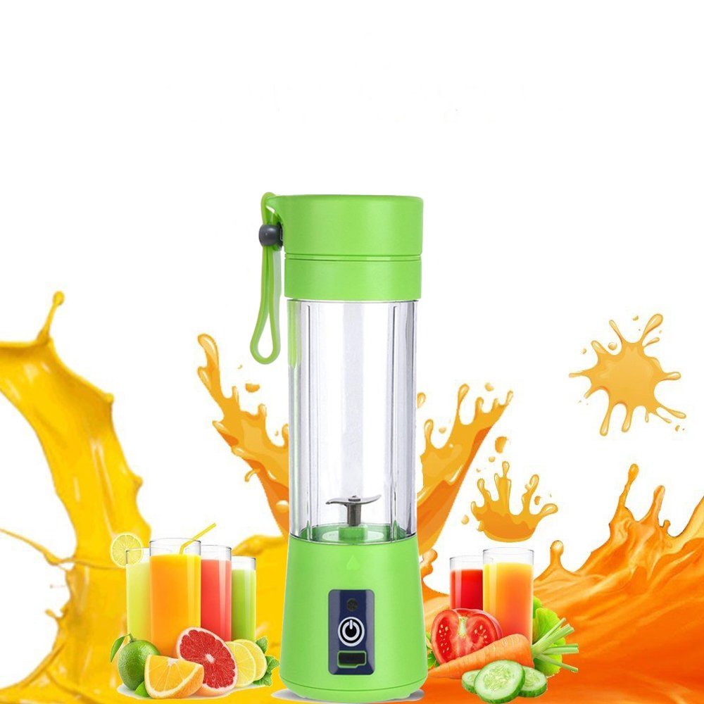 JHDLY Electric Juice Cups,Mini Fruit Juice Extractor, Personal Blender Juicer Bottle ,Electric Rechargeable USB Juicer Cup, Fruit Mixing Machine USB Charging Sport Juice Maker Mixer Cup 380ml with Cab