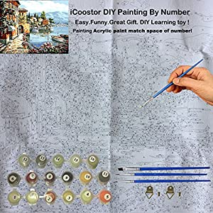"Paint by Numbers DIY Acrylic Painting Kit for Kids & Adults by iCooster – 16"" x 20""Silent Harbor Pattern with 3 Brushes & Bright Colors"
