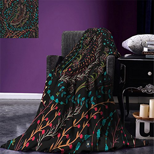 (smallbeefly Floral Digital Printing Blanket Colorful Herbs and Flowering Stems on Dark Backdrop Nature Coming Alive in Spring Summer Quilt Comforter Multicolor)