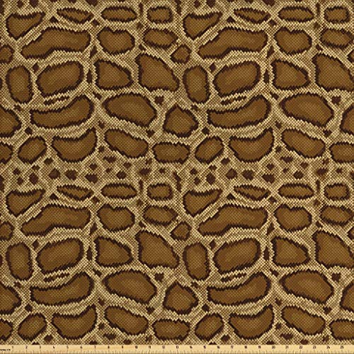 Lunarable Reptile Fabric by The Yard, Python Snakeskin Pattern Geometrical Borders Composition Animal Hide Print, Decorative Fabric for Upholstery and Home Accents, 1 Yard, Caramel Pale Brown