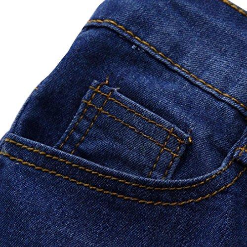 Pantalons Skinny Taille Femmes Adeshop Stretch Casual Trous Slim Jeans Crayon Bleu Ripped Pantalon Moyenne Mode Haute PvmNnyO08w