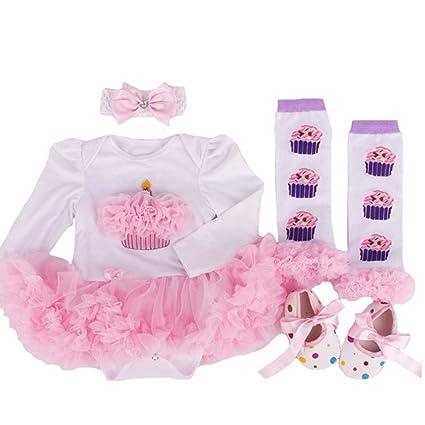 4pcs/set recién nacido niña body body Princess Tutu Vestido Diadema ...