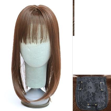 Flequillo peluca de aire/Invisible recambio-block/Peluca larga recta de la señora