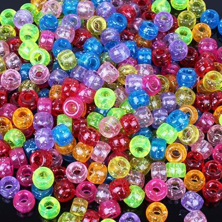 6x9mm Glitter Multicolor Mix Pony Beads for Making Bracelet, 1000 Beads Bulk ()