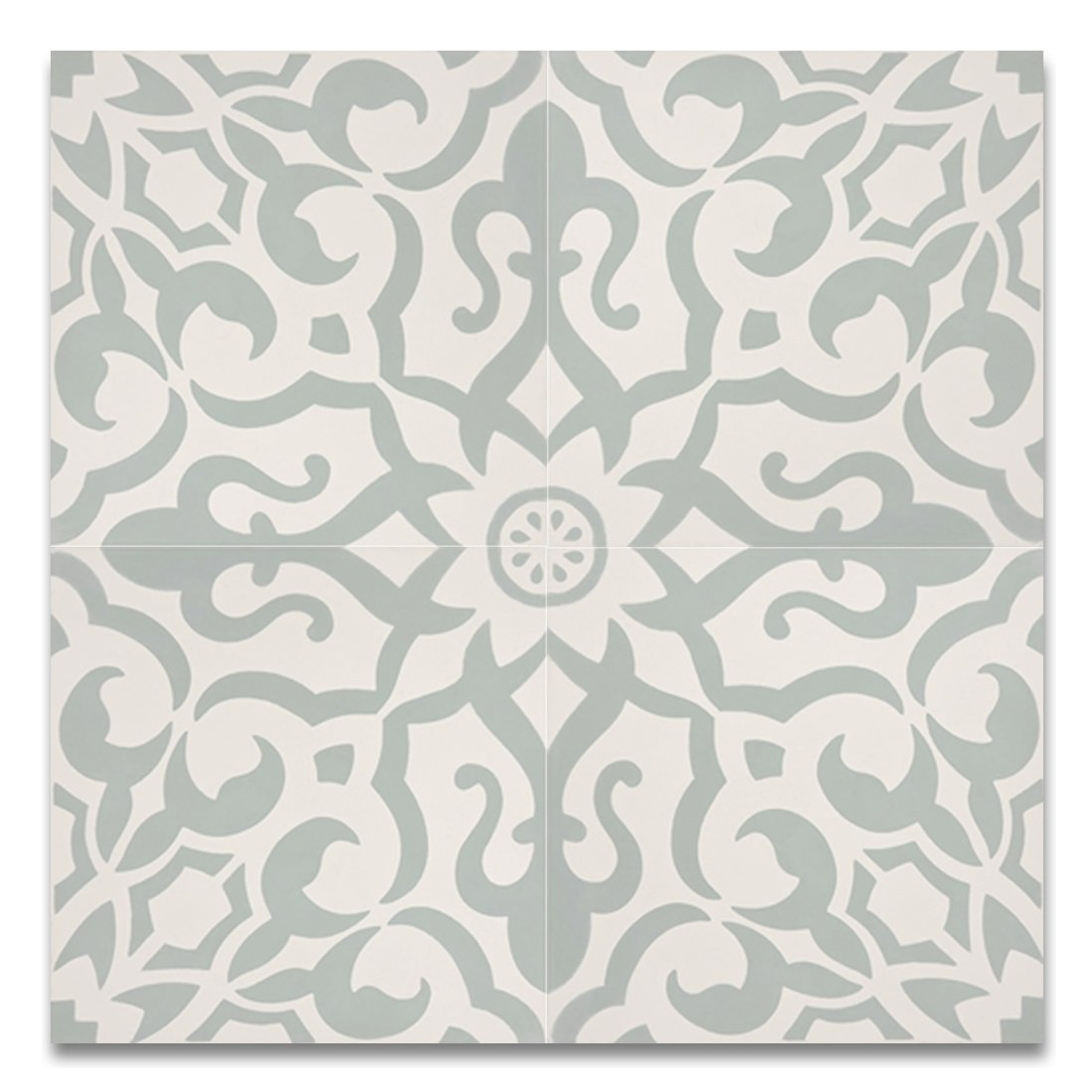 Moroccan Mosaic & Tile House CTP57-01 Atlas Handmade Cement Tile 8''x 8'' Light Green,White