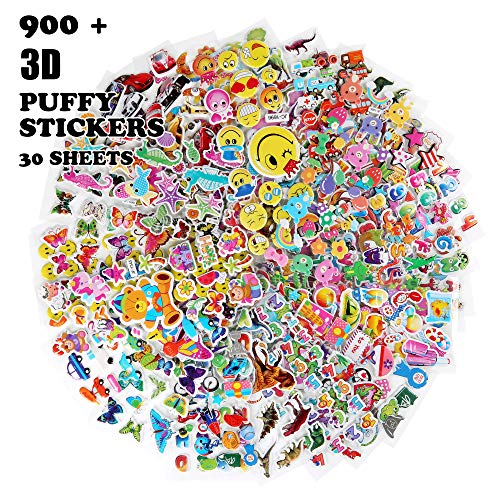 Oiuros Kid Puffy Stickers (900 +), Kids Scrapbooking, 30 Different Sheets, Including Cute Fish and Animals,Butterflies, Cars, Airplane, Letters, Numbers and More -