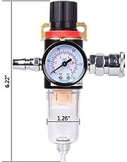 "Hotusi 1/4"" BSP Air Filter Regulator Compressor Moisture Trap Oil Water Lubricator for Compressor and Air Tools"