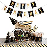 30th Birthday Plates, Napkins, Cups, Tablecloth, Banner, Party Hats - Huge Birthday Pack for 16 Person - Gold and Black 30th Birthday Table Decorations for Men and Women