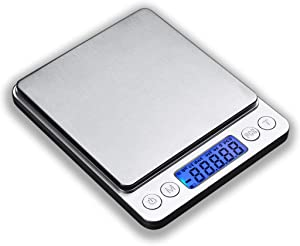 JOEAA Digital Kitchen Scale, 6.6lb 3kg-0.1 grams Food Scale Multifunction with Backlight LCD Display, Tare, 6 Units, Auto Off, PCS Function, 2 Trays, Batteries Included - Stainless Steel