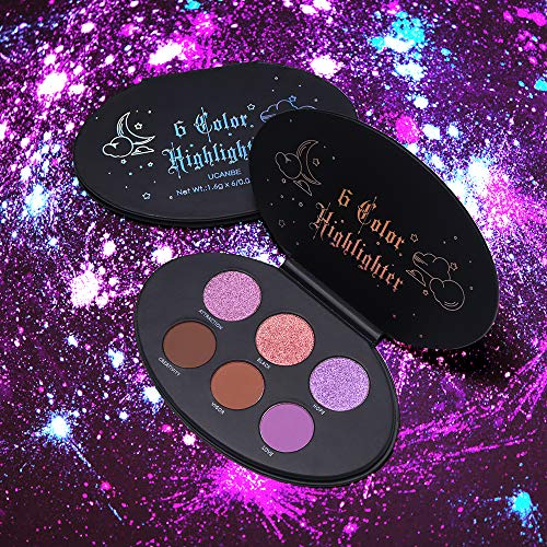 Exclusive Highlighting Blush / Duo - UCANBE 6 Colors High Pigmented Face Highlighter Blusher Contour Palette Long Lasting Multi Function Duo Chrome Glitter Shimmer Matte Highlighghting Blush Eyeshadow Pallet Set