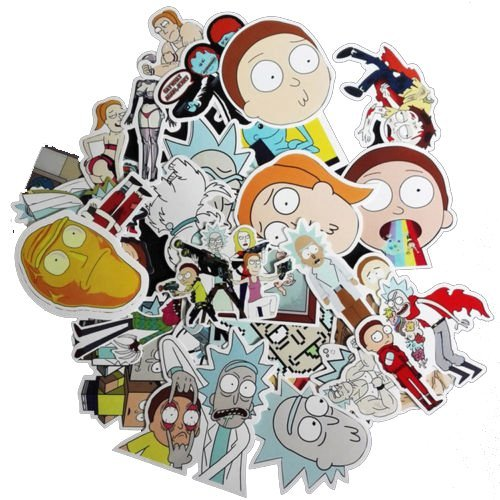 Drama Rick and Morty Stickers Decal For Snowboard Laptop Luggage Car Fridge DIY Styling Vinyl Home Decor (35pc) (Graffiti Style Letters)