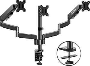 MOUNTPRO Triple Monitor Desk Mount - Articulating Gas Spring Monitor Arm, Removable VESA Mount Desk Stand with Clamp and Grommet Base - Fits 13 to 27 Inch LCD Computer Monitors, VESA 75x75, 100x100