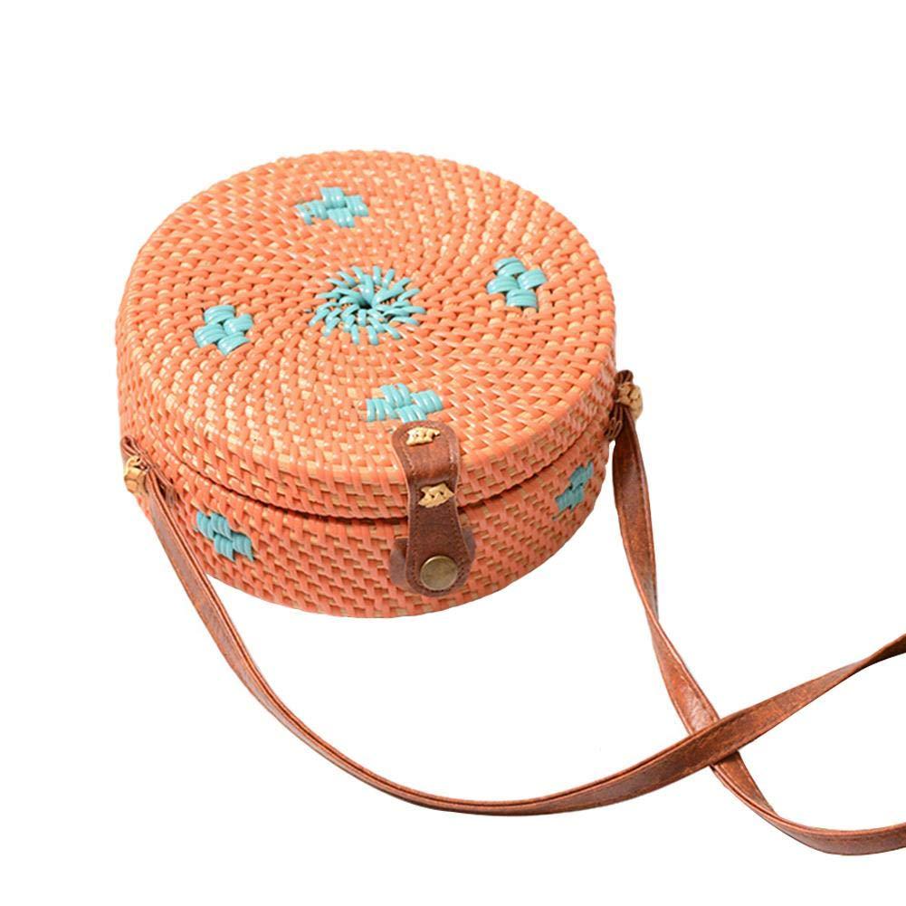 Colorful Bag Vintage Hand-Woven Round Rattan PU Shoulder Strap Bag Straw Bag by Oshide (Image #1)
