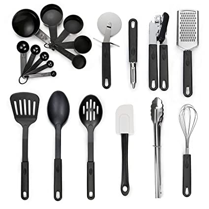 Kitchen Utensil Set   20 Piece Stainless Steel Cooking Utensils   Nonstick  Utensils Spatula Set Non