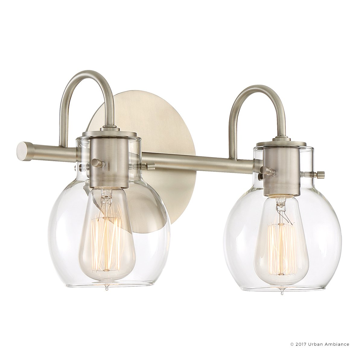 Luxury Vintage Bathroom Light, Medium Size: 9''H x 14''W, with Industrial Style Elements, Floating Glass Design, Aged Nickel Finish and Clear Glass, Includes Edison Bulbs, UQL2040 by Urban Ambiance
