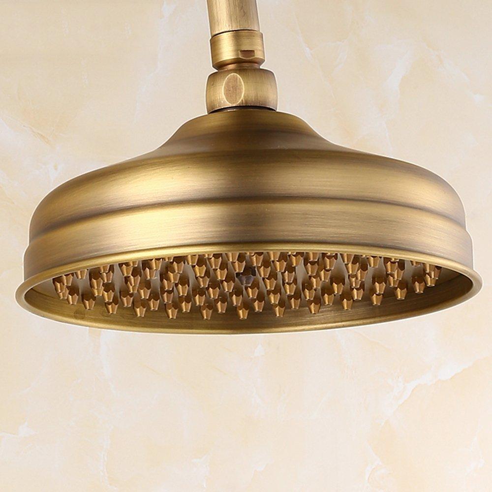 LY-shower Soffione doccia completo in rame anticato Soffione doccia con acqua siliconica Ampio spray superiore per una facile pulizia Anti-intasamento