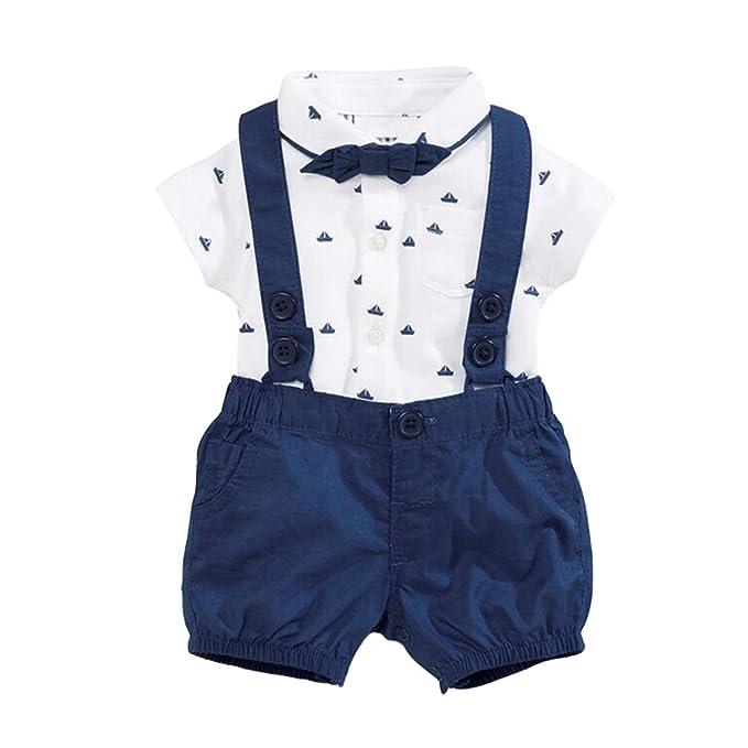 colore attraente qualità del marchio Acquista i più venduti Xinwcang Pagliaccatti da Neonato Bambini Eleganti Tops T-Shirt Tutine  Completini a Manica Corta Pantaloncini Smoking Baptism Formale Suit