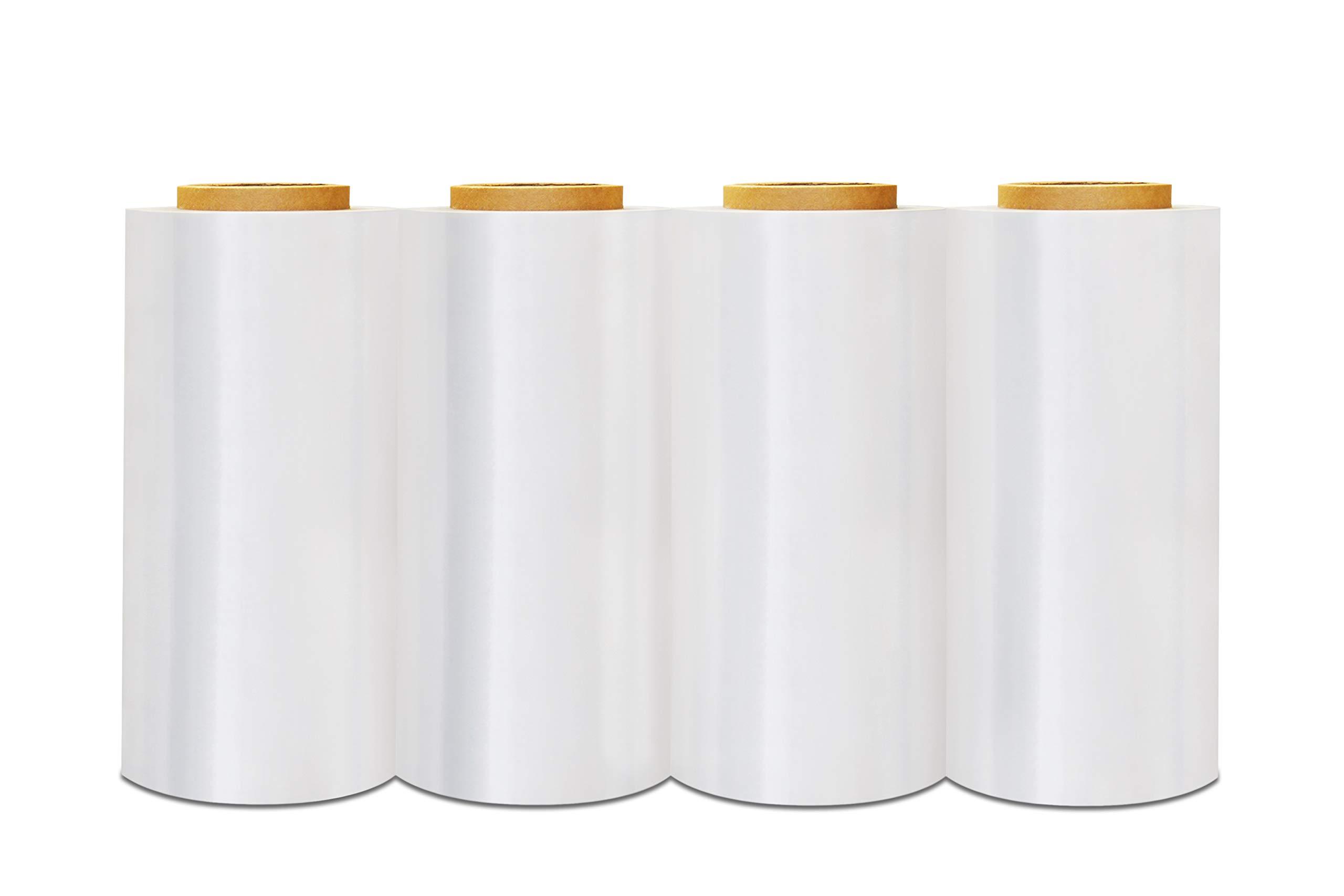 Plastic Packing Wrap, Blown Stretch Film Rolls, Clear, 12 Inch x 1500 Feet, 80 Gauge, 4 Pack