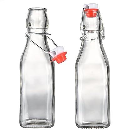uarter botellas botellas de vidrio tapa de fácil de zumo botella multiusos con clara basculante cuadrado