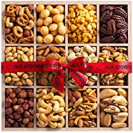 Gourmet Gift Basket for Women, Nut Wooden Tray (12 Section) - Healthy Food Edible Arrangement Platter for Easter, Mothers, Fathers Day, Birthday - Snack Box for Men, Adults, Family - Prime Delivery