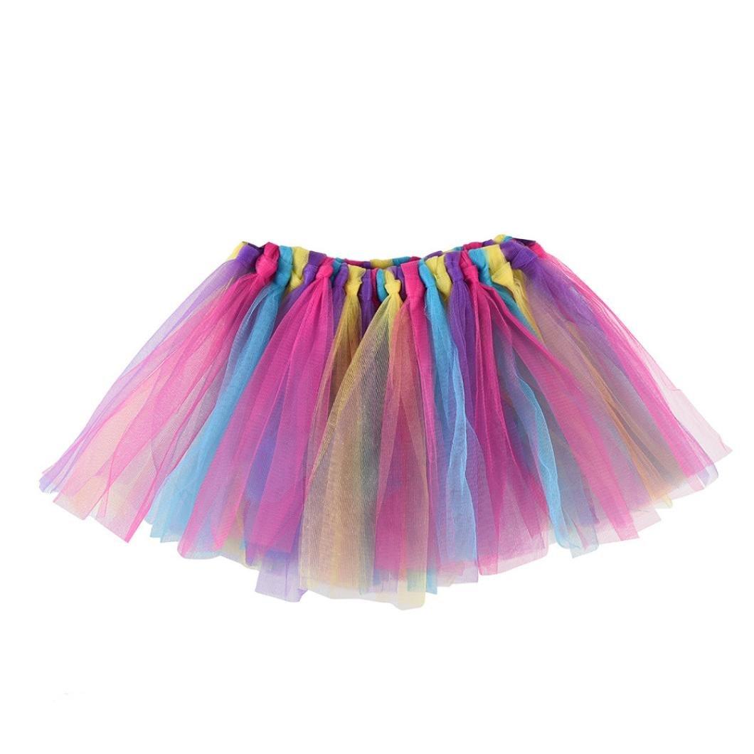 Auwer- Tutu Skirt Summer Little Girls Layered Rainbow Tutu Skirts Dance Fluffy Tutu Skirt Pettiskirt Ballet Costume (C)