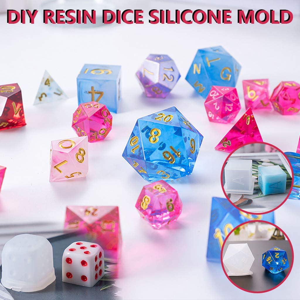 Dice Fillet Shape Multi-spec Digital Game Silicone Mould Epoxy Resin Silicone Molds Resin Crafts DIY Gift for Kids DIY Crystal Epoxy Mold Dice Resin Casting Molds for Handmade Candle A