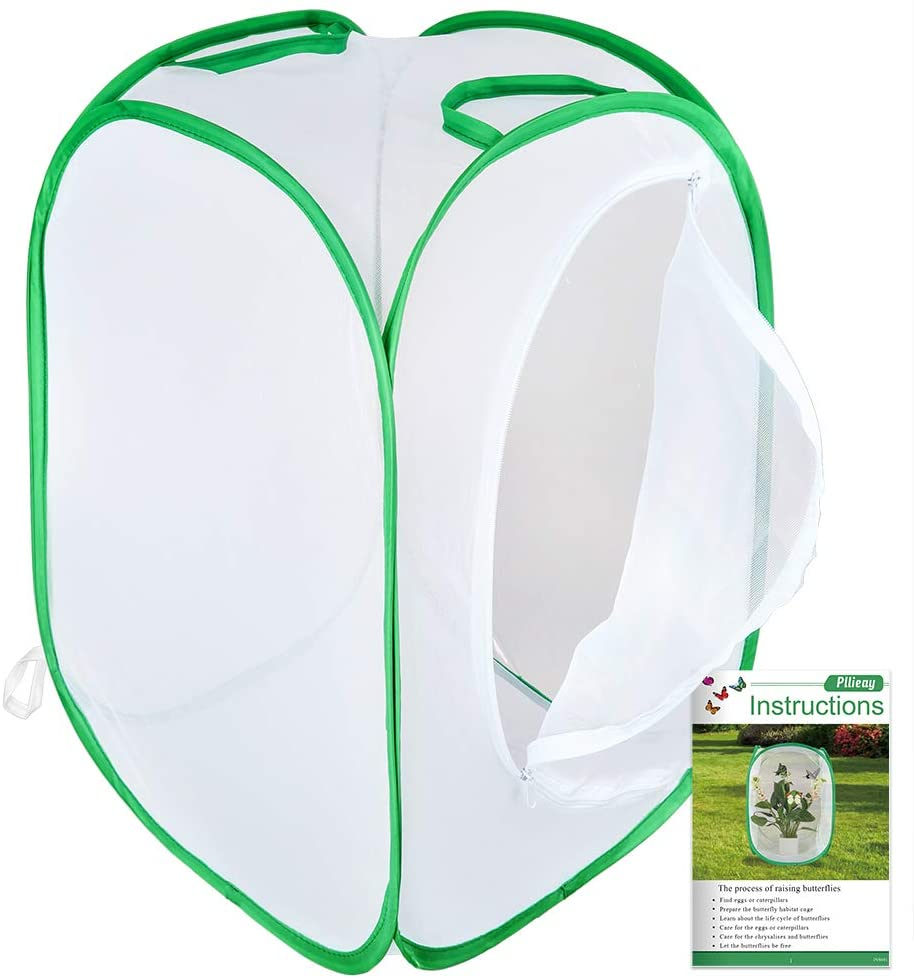 Pllieay Collapsible Insect and Butterfly Habitat Net with Instructions, Terrarium Pop-up 23.6 inches Tall White Kids Butterfly Net