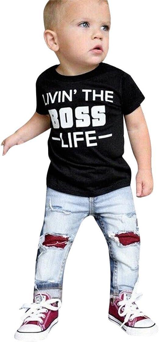 2Pcs Fashion Children Boys Plaid Shirt Tops Jeans Pants Outfits Sets Baby Suit