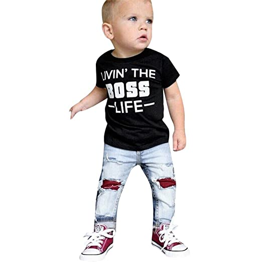 291dc3af840 Image Unavailable. Image not available for. Color  Lurryly 2Pcs Baby Boys T  Shirt Tops+Hole Jeans Denim Pants Kids Clothes ...