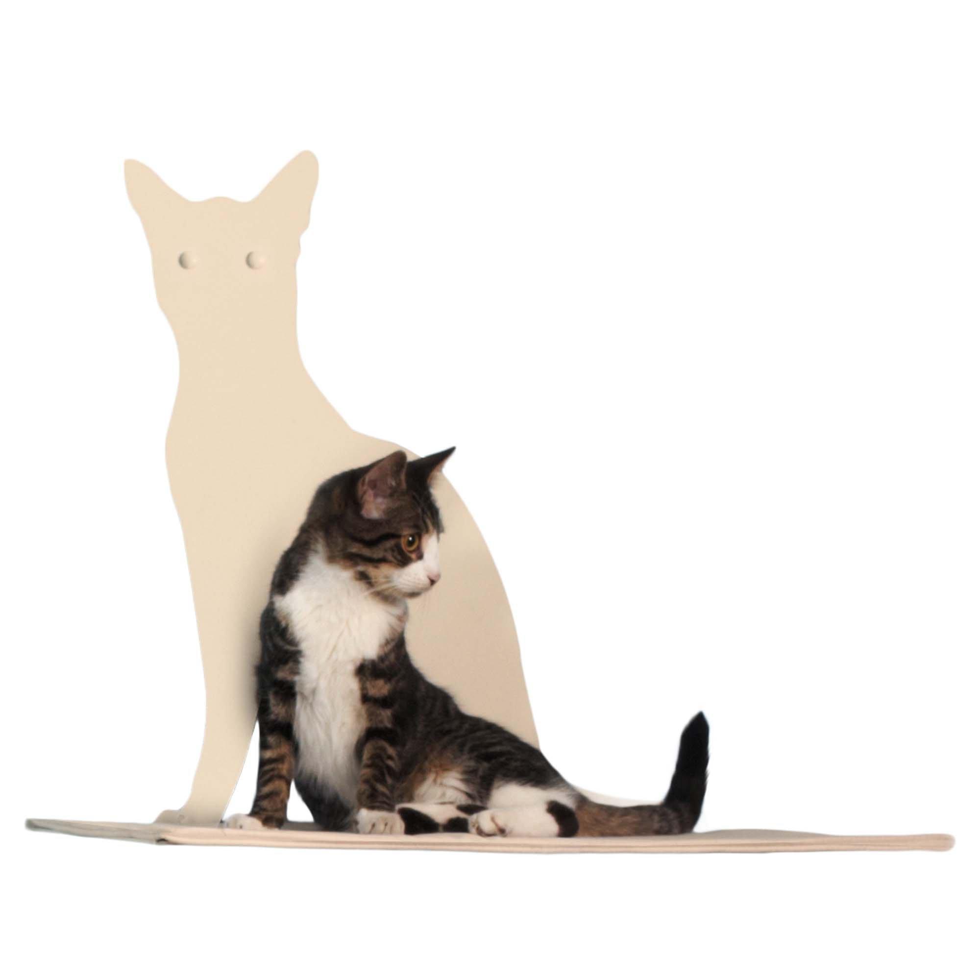 Cat Silhouette Cat Shelf Perch - Off-White