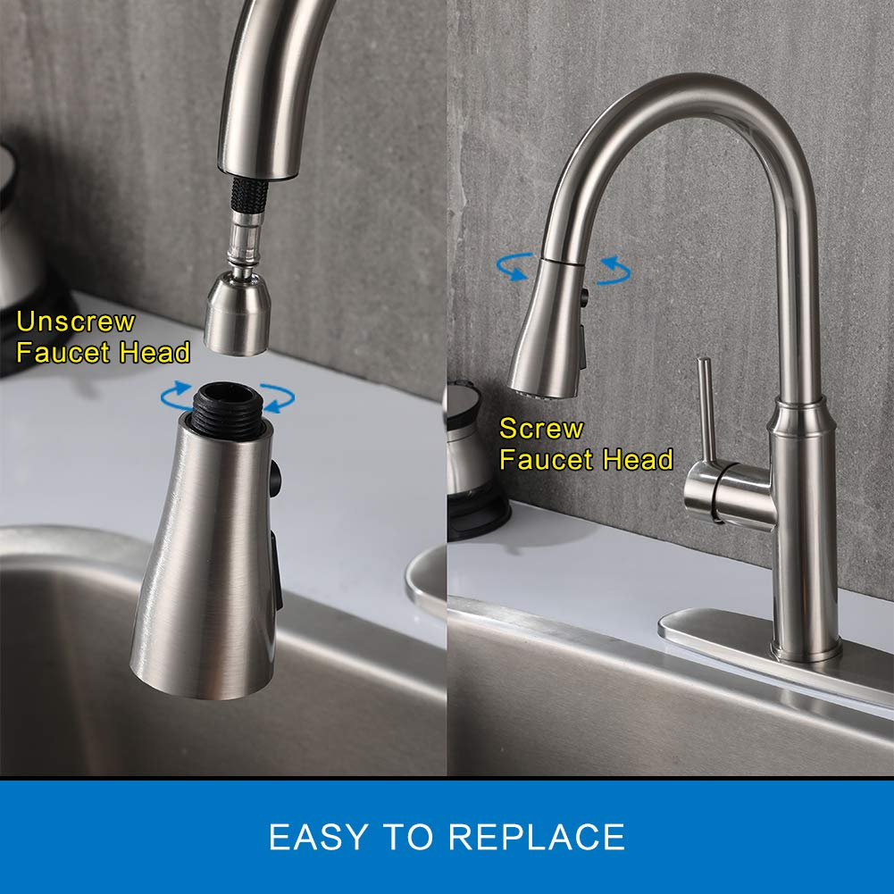 Kitchen Faucet Pull-Out Sprayer Head - Sink Faucets Spray Head Brushed Nickel with 3 Function,Kitchen Faucets Nozzle with G1/2 Connector, Kitchen Sink Faucet Replacement Parts by Ehom (Image #5)