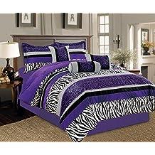5 Piece Oversize Light PURPLE Black White Zebra Leopard Micro Fur Comforter set Twin Size Bedding - Teen, Girl, youth, Tween, Children's Room, Master Bedroom, Guest Room