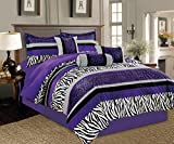 zebra comforter full size - 7 Piece Oversize Light PURPLE Black White Zebra Leopard Micro Fur Comforter set Full Size Bedding - Teen, Girl, youth, Tween, Children's Room, Master Bedroom, Guest Room