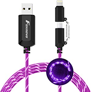 [Apple MFi Certified] Foxnovo Led iPhone Charger Cable, 2-in-1 Led Lightning Cable with 360° Flowing Light for iPhone 12/11/11 Pro/XS/XR/X/8/8 Plus/7/7 Plus/6/6 Plus/5s/Android (Purple), 3.3ft