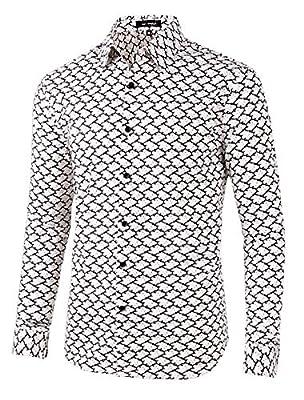 Lars Amadeus Men Floral Button Down Slim Fit Long Sleeve Plaid Prints Dress Shirts