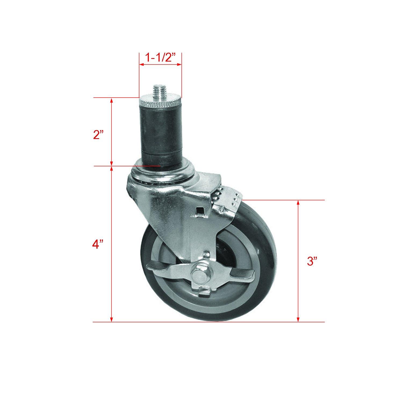 4 Set of KS4113 Side-Brake Stem Caster for Worktables, Tube 1-1/2''
