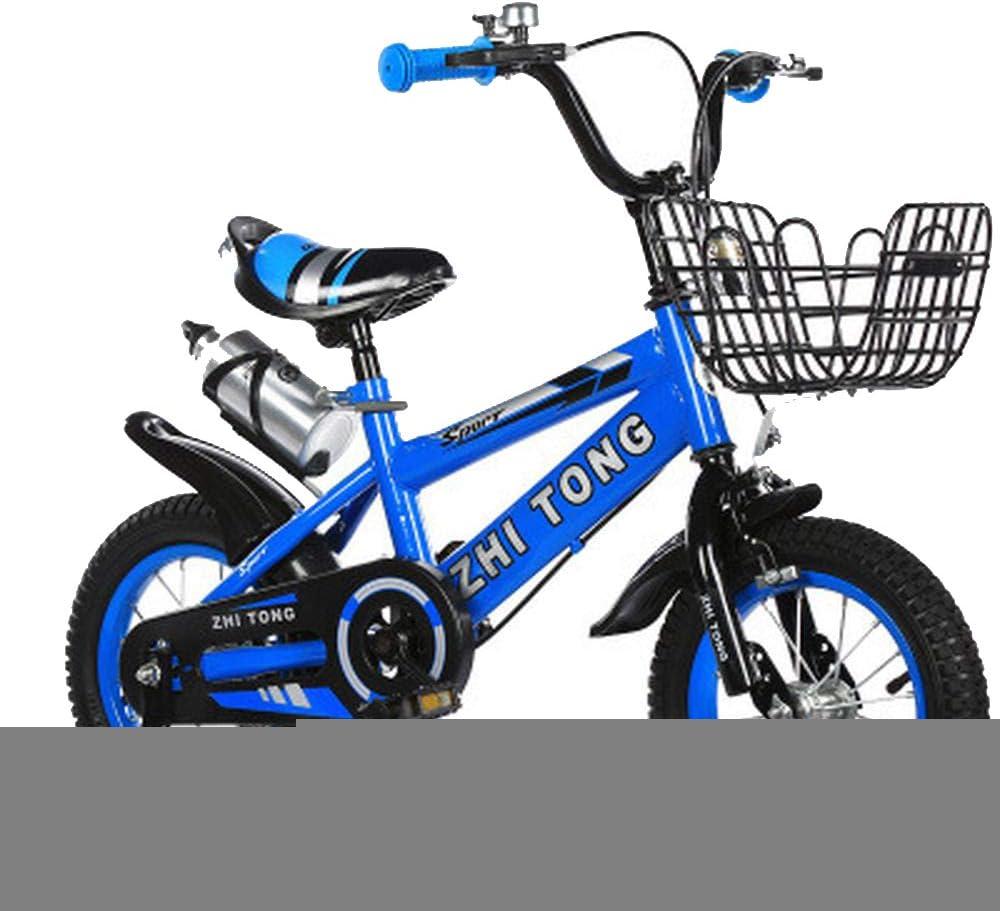XiangYu Bicicleta para Niños,Sistema de Freno de Disco Doble,Sillín Ajustable Manillar + Riel Auxiliar Antideslizante + Hervidor + Asiento Trasero + Cesta + Regalos Blue-12inch: Amazon.es: Deportes y aire libre