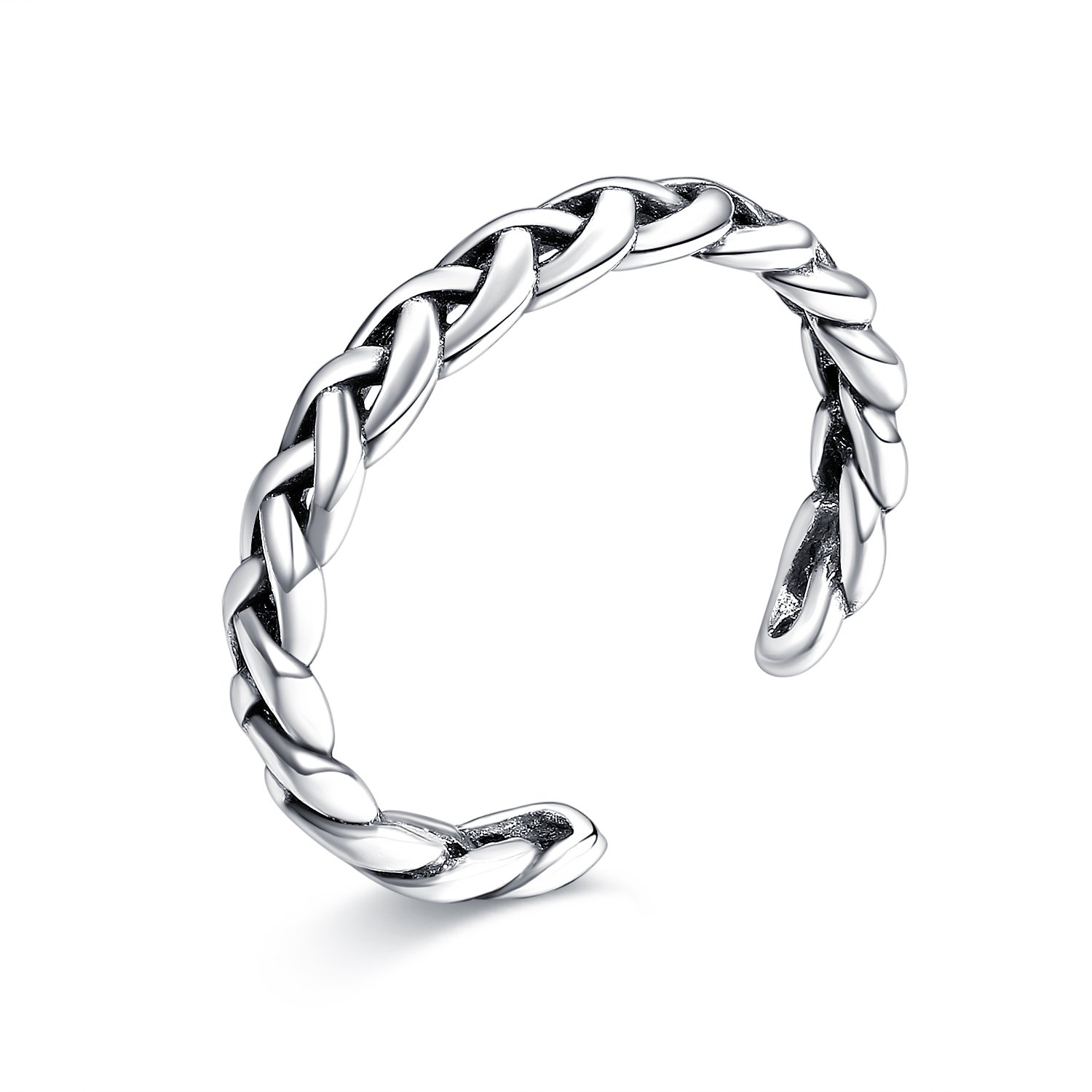 LicLiz Sterling Silver Braided Celtic Knot Adjustable Open Band Ring, Toe Ring for Girls Width 3.3mm