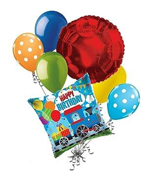 Amazon.com: 7 piezas Choo Choo tren feliz cumpleaños globo ...
