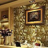 Gold foil 3D wallpaper Three-dimensional relief Wallpaper European luxury KTV Background Wallpaper Luxury Golden Bedroom Parlor Movie Wall paper(0.53x10m )
