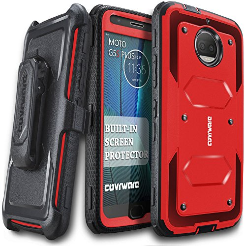Moto G5S Plus Case, COVRWARE [Aegis Series] w/Built-in [Screen Protector] Heavy Duty Full-Body Rugged Holster Armor Case [Belt Swivel Clip][Kickstand] for Moto G5S Plus, Red
