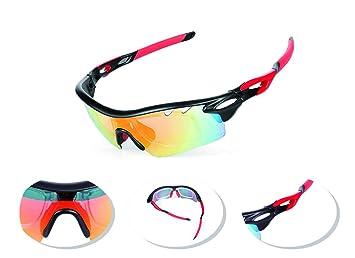 58ac8afc0a JOGVELO Gafas Ciclismo Polarizadas, Gafas Ciclismo con 5 Lentes  Intercambiables TR-90 Anti UV400, Rojo: Amazon.es: Deportes y aire libre