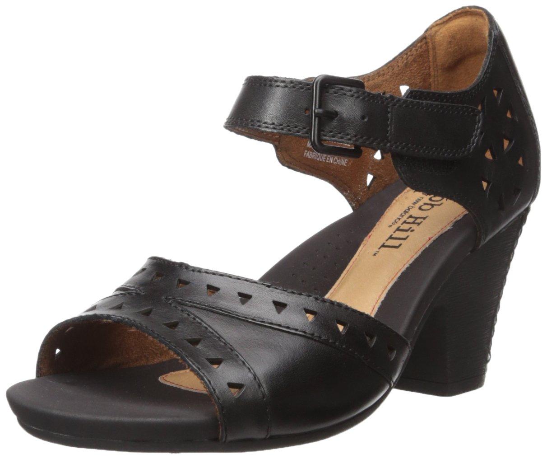 Cobb Hill Rockport Women's Trista-CH Heeled Sandal, Black, 8 W US