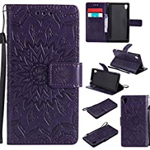 Sony M4 Aqua Cases,Abtory Xperia M4 Aqua Cases,Flip Magnetic [Card Slots][Stand] PU Emboss Flower Leather Wallet Case with Wrist Strap for Sony Xperia M4 Aqua Purple