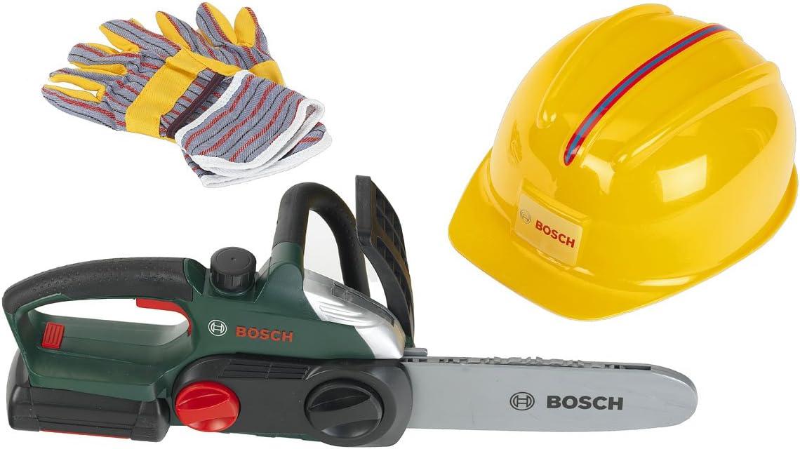 Theo Klein-8456 Bosch Sierra De Cadena con Casco Y Guantes Protectores, Juguete, Multicolor (8456)