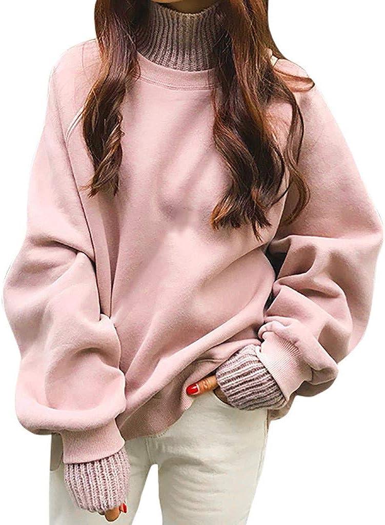 HULKY Herbst Winter Lange Pullover Damen Sweatshirt mit Stehkragen Einfarbig Patchwork Pulli Classics Tunika Casual Lose High Neck Tops M-L2