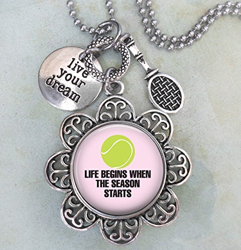 Tennis Keychain, Purse Clip or Necklace, Live Your Dream, Tennis Racket Charm, All Sizes, Team Gift, Women, Girls, Teens